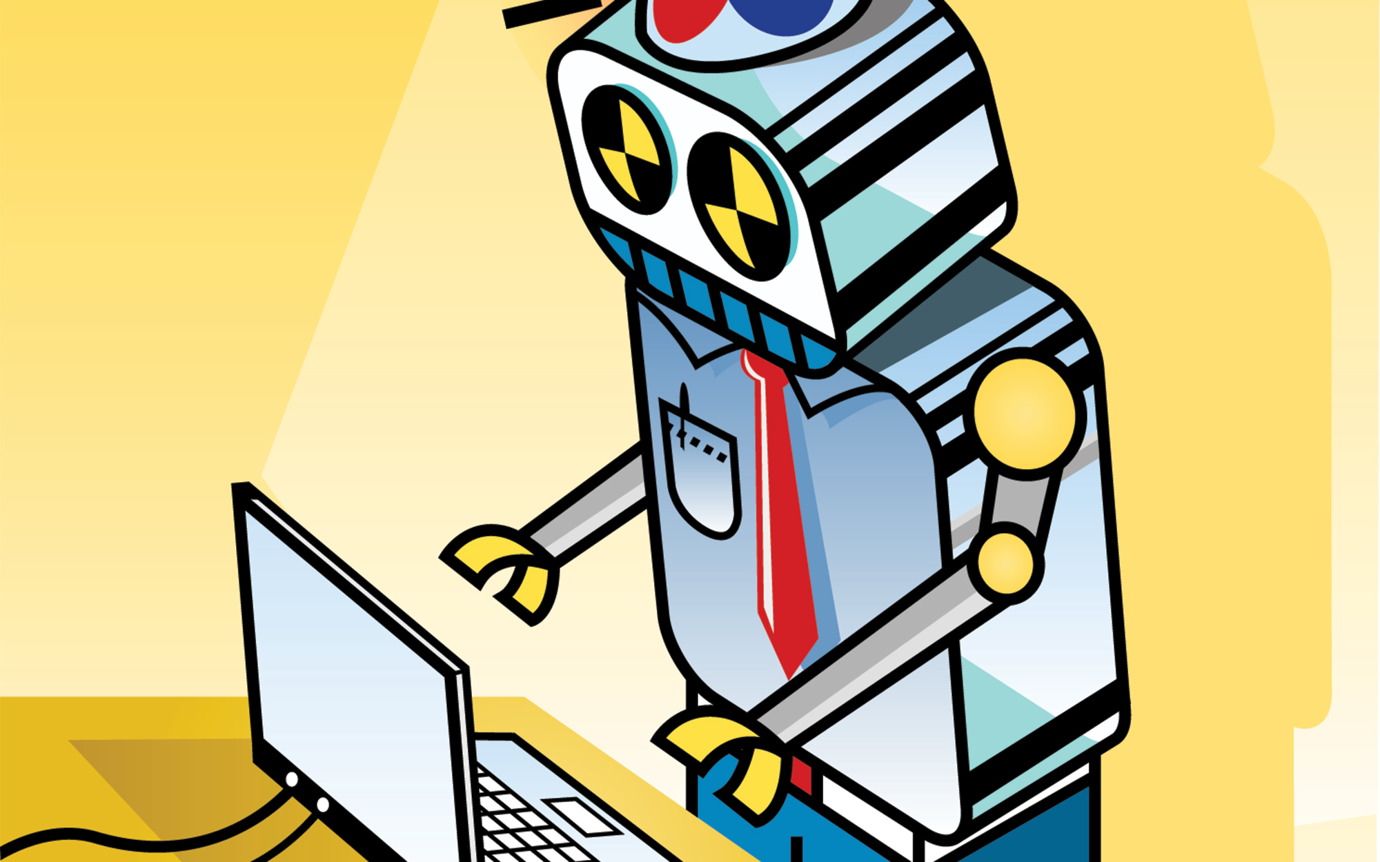 Robot typing illustration.