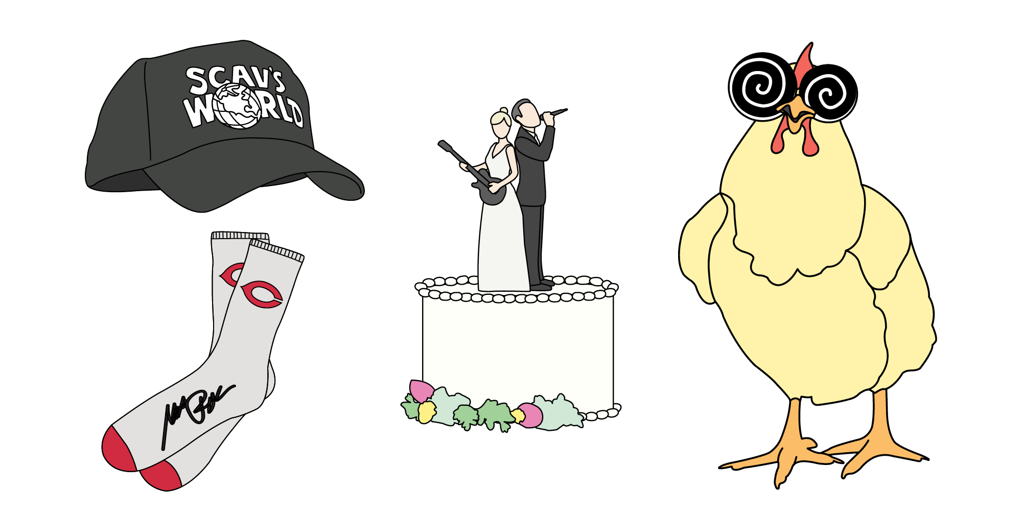 Illustrations of a hat, socks, a wedding cake top tier, and a hypnotized chicken