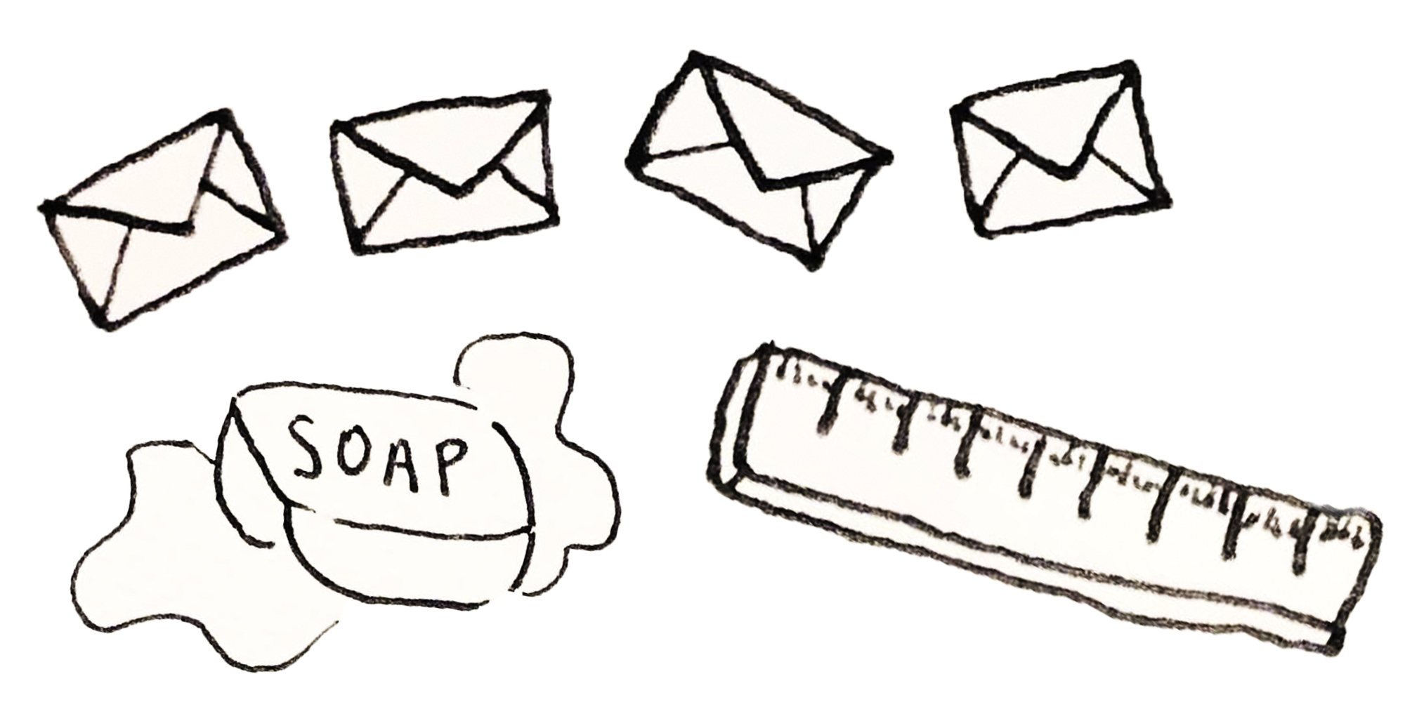 Sketches of 4 envelopes, a bar of soap, and a ruler