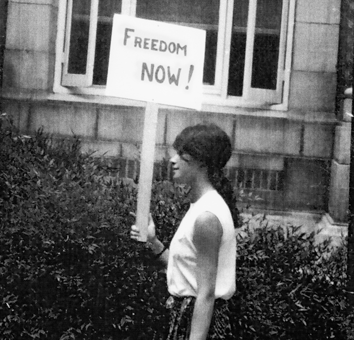 Heather Booth on a picket line in Mississippi in 1964