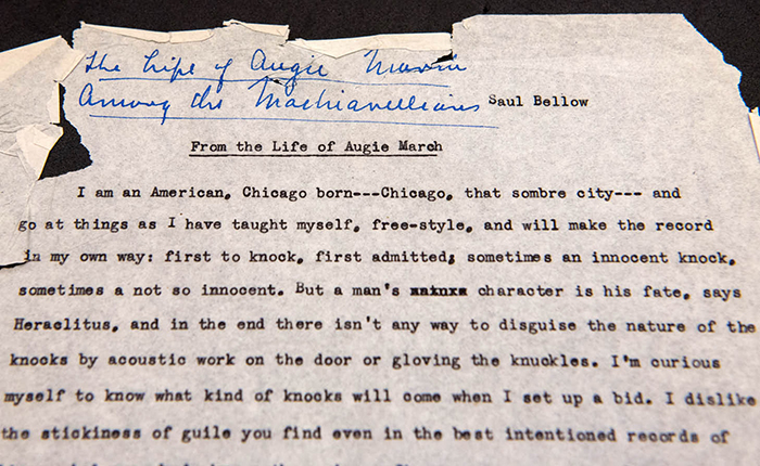 A draft of Saul Bellow's The Adventures of Augie March