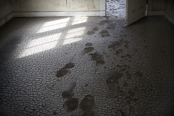 Photo of footsteps in soot