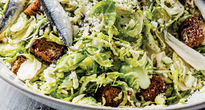 Brussels sprouts Caesar salad