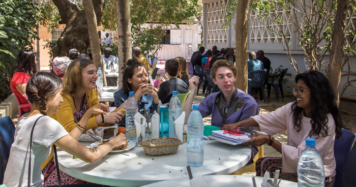 Students gather in WARC's courtyard for lunch