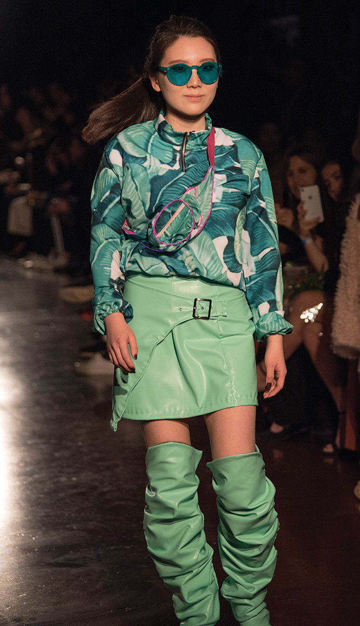"""Neo mint"" clothing with palm frond pattern"