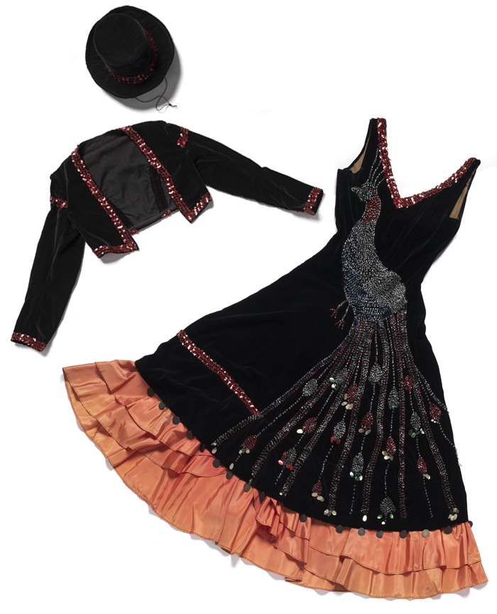 Velvet flamenco costume with hand-beaded peacock