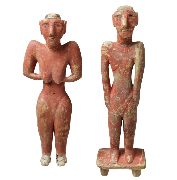 painted limestone statues, Neolithic period