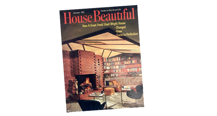 A cover of House Beautiful featuring a Frank Lloyd Wright home