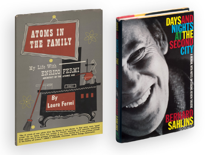Book covers: Atoms in the Family, Days and Nights at the Second City