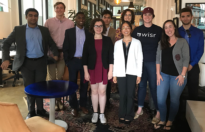 UChicago students with Wisr cofounder in Cleveland
