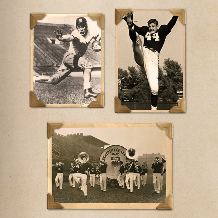 Photo collage of Chicago Maroon Football 1930s
