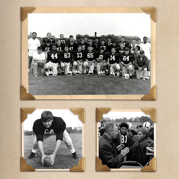 Photo collage of Chicago Maroon Football 1960s