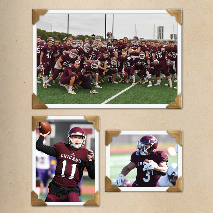 Photo collage of Chicago Maroon Football 2019