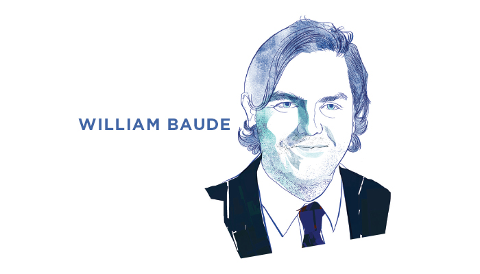 Illustrated portrait of William Baude