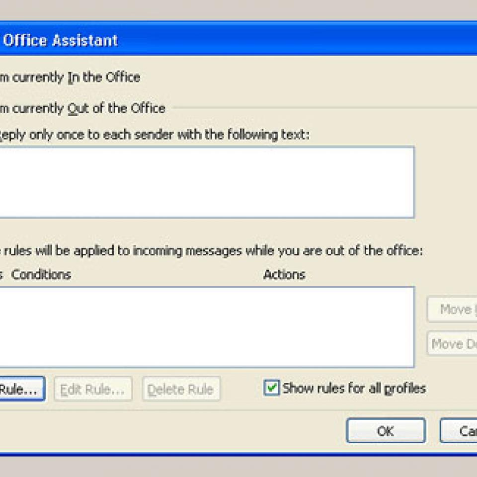 "Microsoft Outlook's ""Out of Office Assistant"" pop-up window."