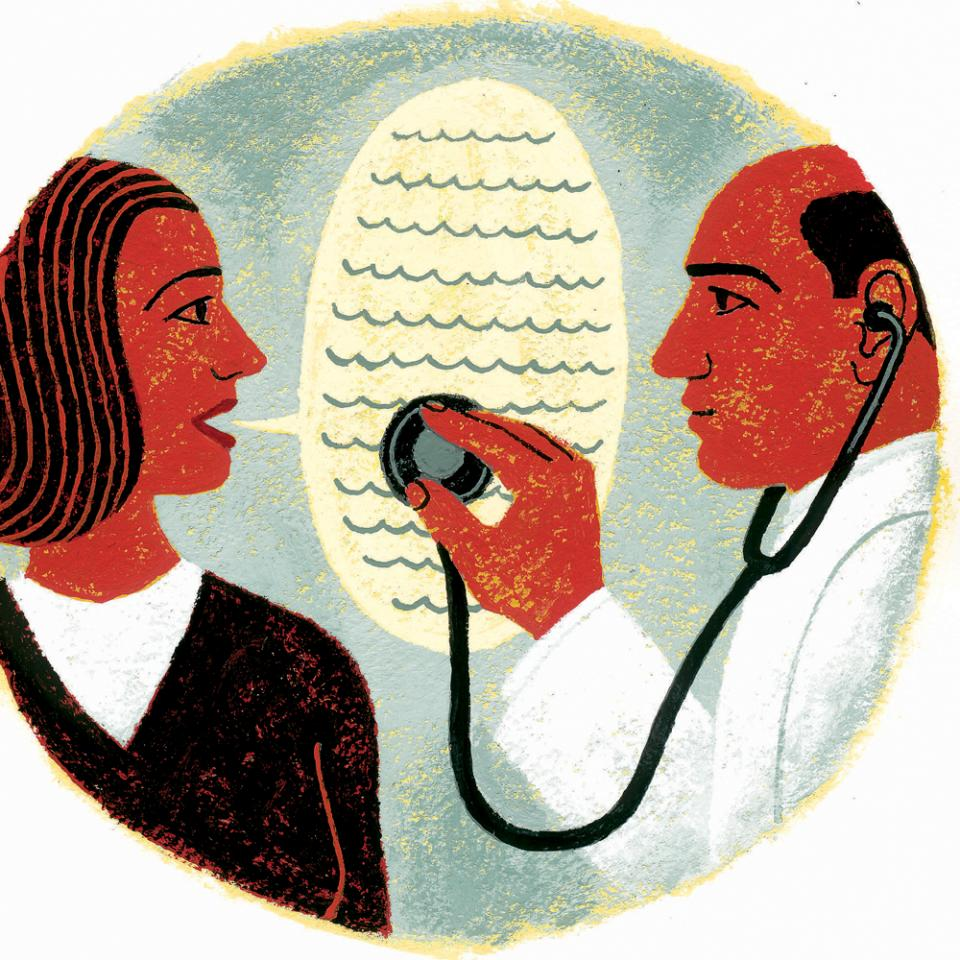 Illustration of a doctor listening to a patient