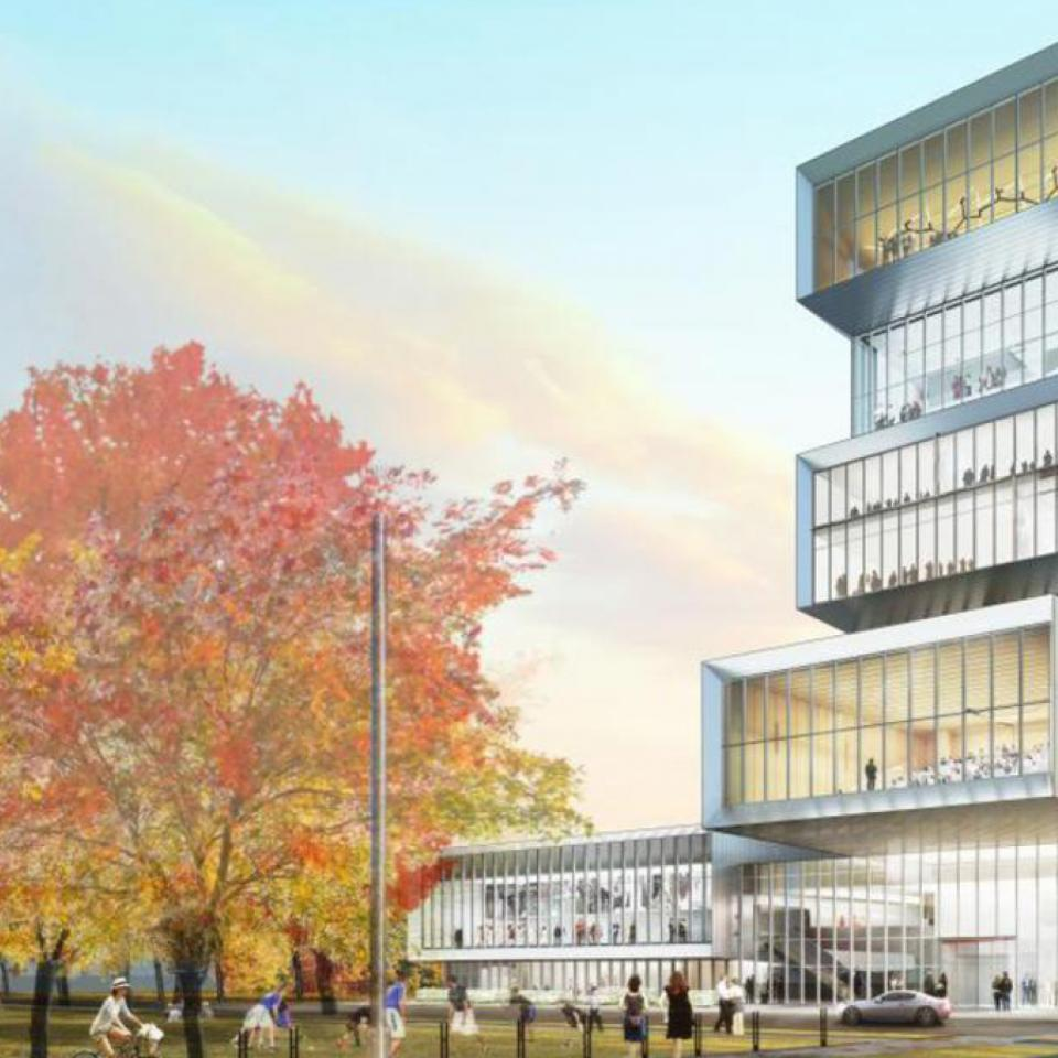 Architectural rendering of the Rubenstein Forum at the University of Chicago