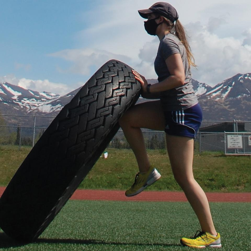 Vera Soloview doing tire training in Alaska