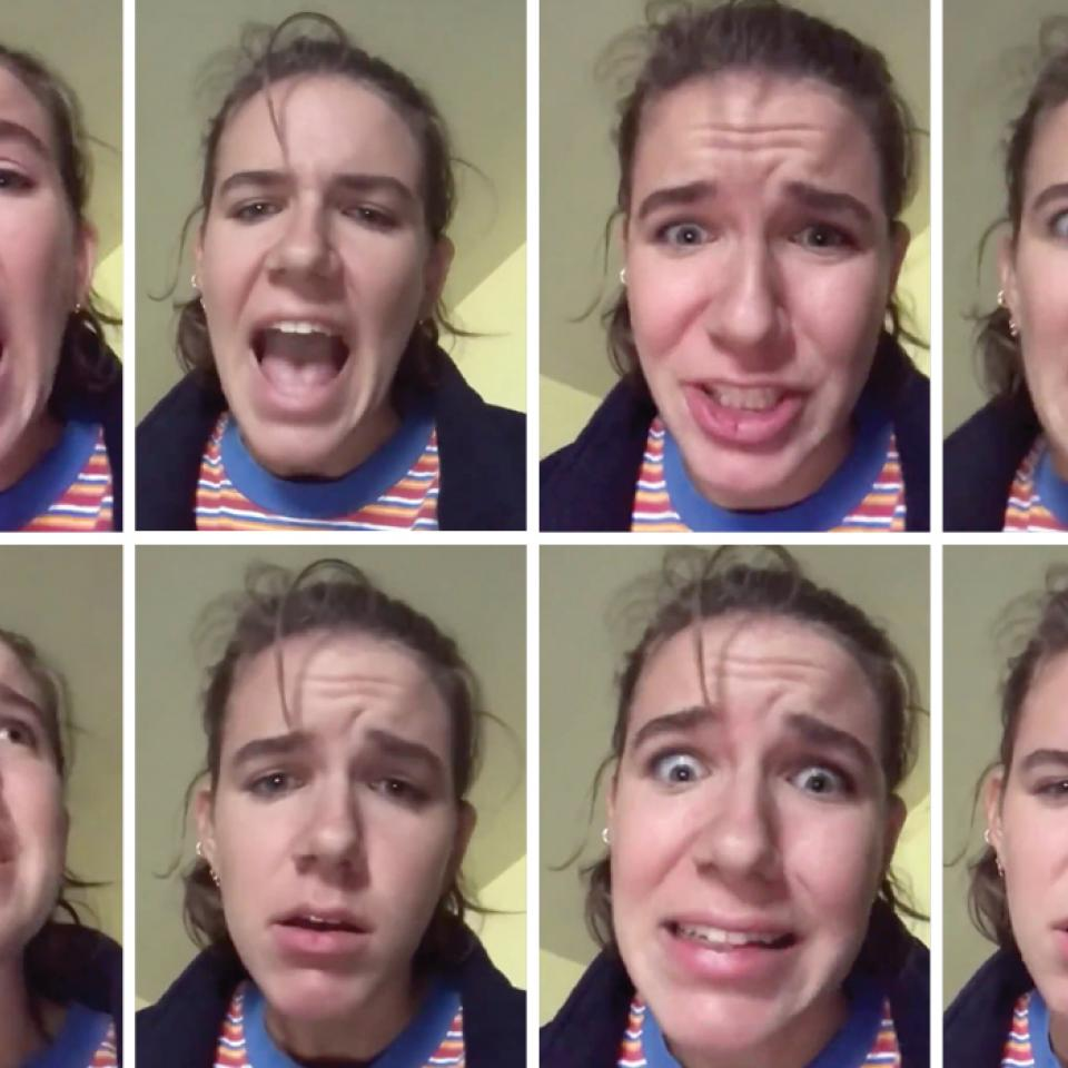 Video stills of Liv Pierce's Twitter spoof of Broadway musicals
