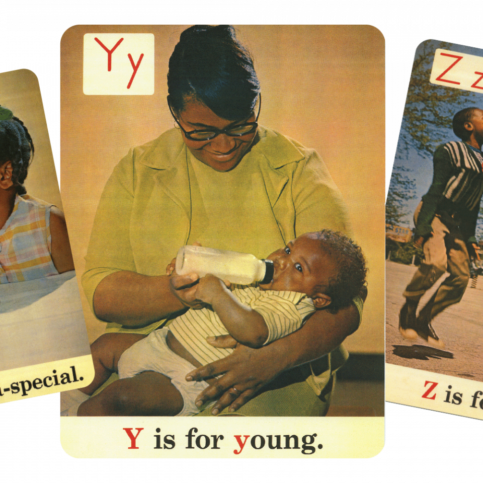 The X, Y, and Z letter cards from the Black ABCs
