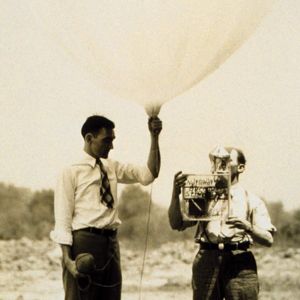 Weather researchers releasing a radiosonde on a balloon (c 1947)
