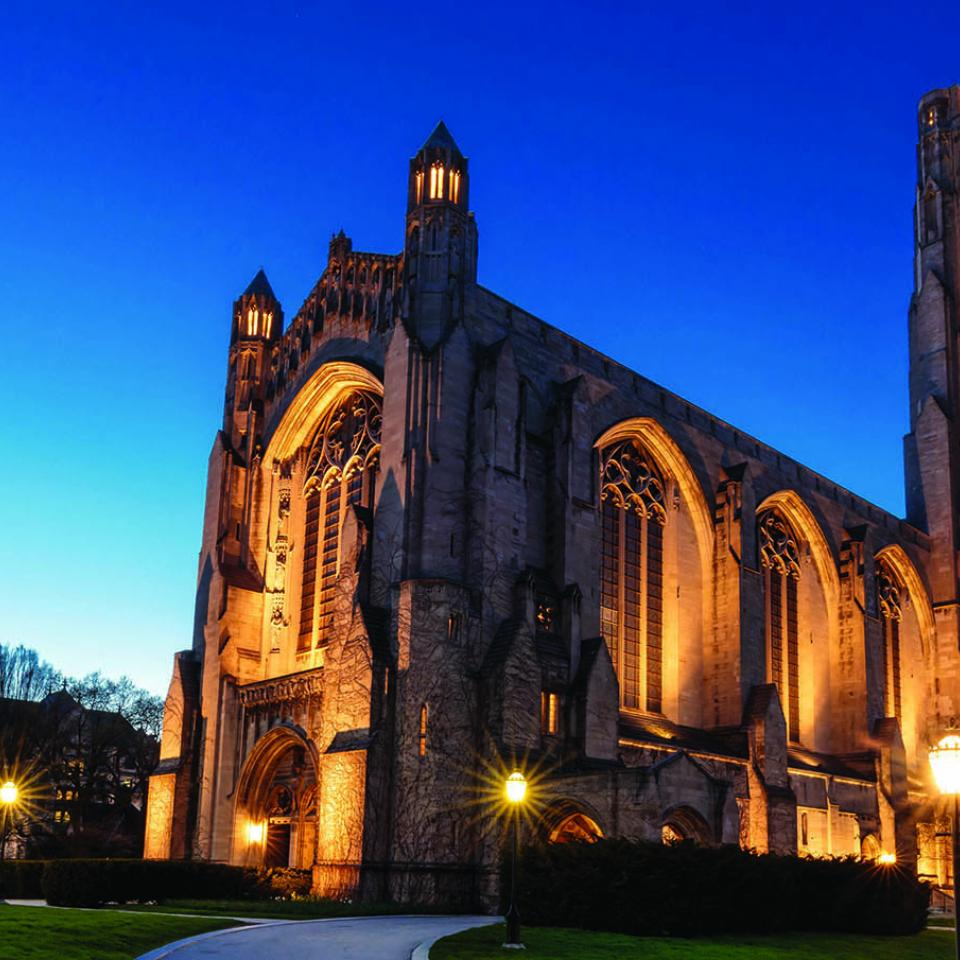 Rockefeller Chapel at twilight