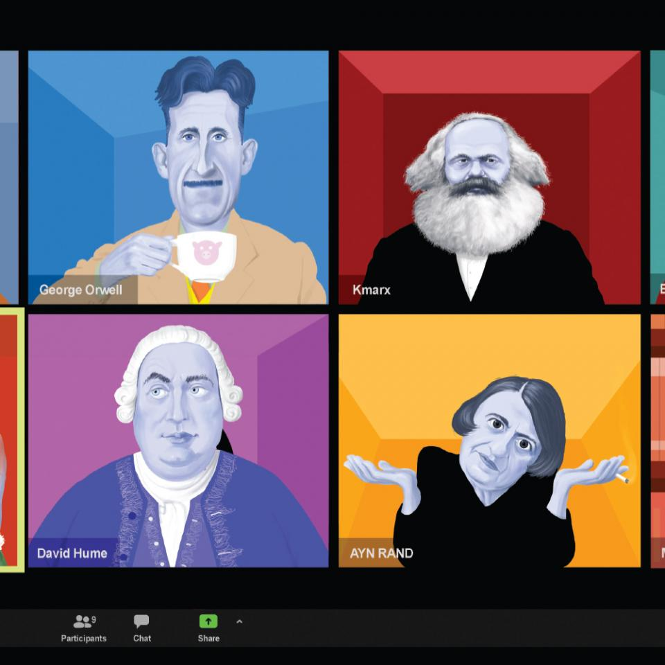 Illustration of historical philosophers participating in Zoom classroom